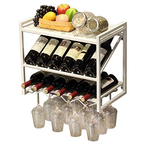 AMAFS Estante para Colgar en la Pared con botellero 2 en 1   portalatas para Botellas de Vino y Copas   Restaurante Bar montado en la Pared Wall D & Eacute; Cor