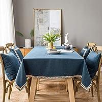 長方形のテーブルクロス、純色の綿とリネンのデザインのテーブルクロス、防汚洗えるテーブルクロス、屋外または屋内のキッチンでの使用に適しています- blue-80x260cm