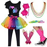 9 Piece 80s Pop Party Diva Teen Costume Accessories Set 7-16 Years (Rainbow, 7-8 Years)