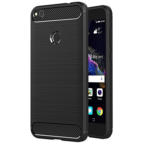 AICEK Huawei P8 Lite 2017 Hülle, Schwarz Silikon Handyhülle für Huawei P8 Lite 2017 Schutzhülle (5,2 Zoll) Karbon Optik Soft Case