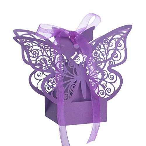 Aspire 50 Pcs/Pack Butterfly Laser Cut Favor Boxes Wedding Gift Boxes for Wholesale Party Favors - Purple,1 Pack