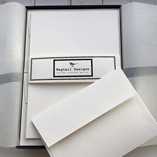 Wagtail Design, Briefpapier-Geschenkset in wunderschöner, schwarzer Schachtel mit Schleife, blanko, elfenbeinfarben (creme), 36Blatt Qualitäts-Schreibpapier mit passenden Umschlägen