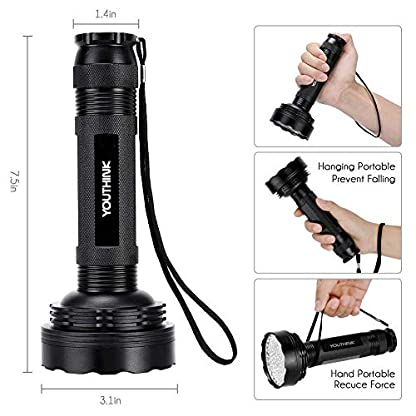 YOUTHINK 100LEDs Flashlight Pet/Dogs/Cats Urine Detector UV Black light to Check Stains, Scorpions, Currency Authenticate for Indoor&Outdoor Use 395 nm Ultraviolet Flashlight 7
