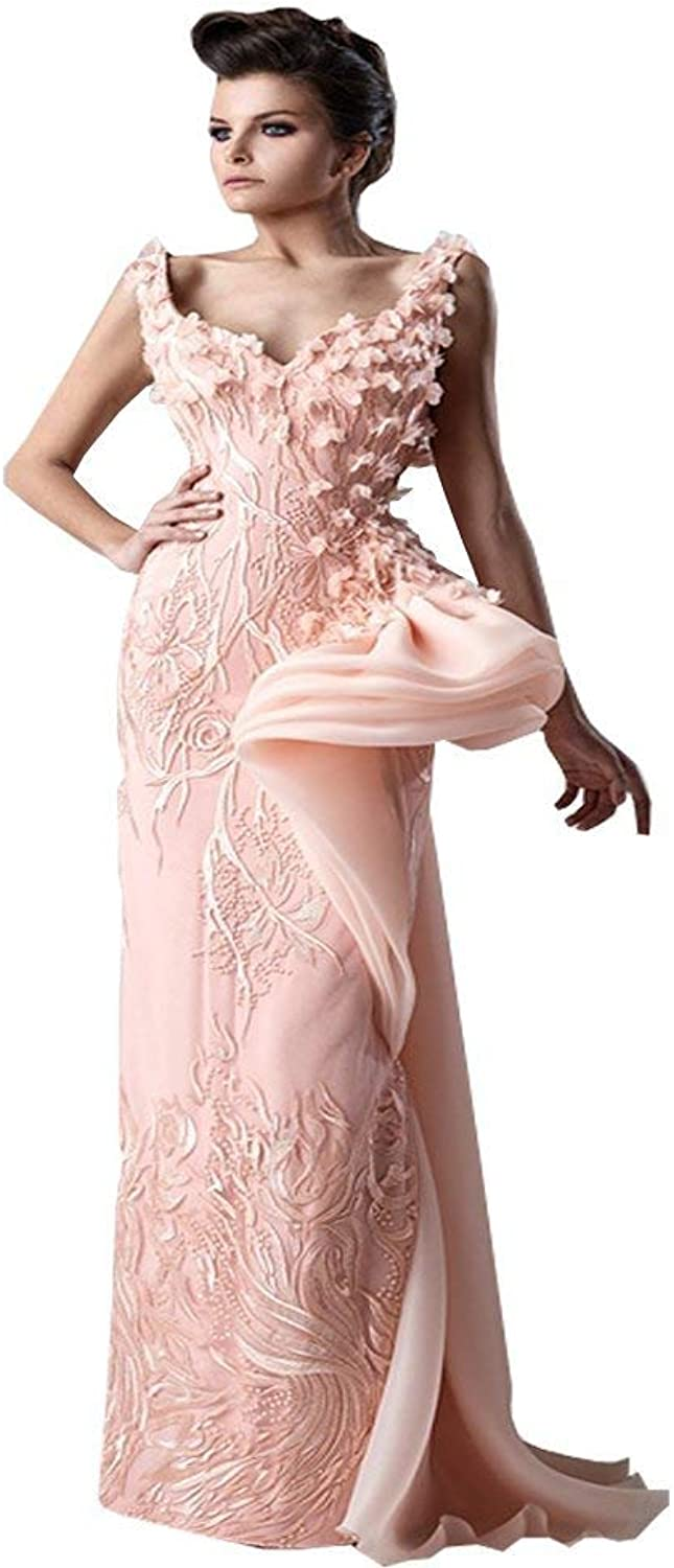 Fenghuavip Stylish VNeck Strap Pink Lace Evening Party Dress Long