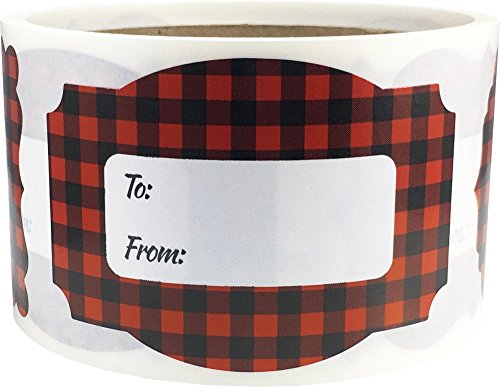 Red Buffalo Plaid Gift Tags Holiday Present Stickers 2 x 3 Inch 100 Total Labels