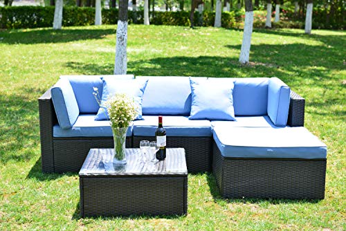 GOJOOASIS 5pc Outdoor Patio Sectional Furniture Set with Cushion and Pillow, Steel Frame, Black