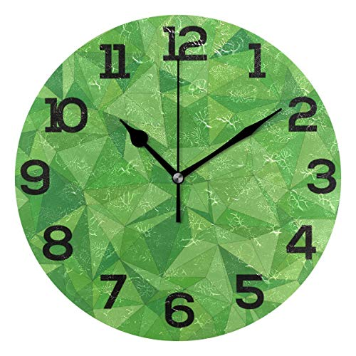 Reloj de Pared Azulejo de Mosaico Geométrico Abstracto Verde Acrílico Redondo Reloj Negro Números Grandes Silencioso Sin tictac Reloj Pintura Decorativa Reloj con Pilas para e School Hotel Librar