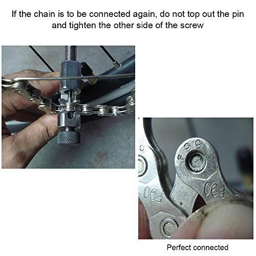 Nahuaa Kettennieter Fahrrad Ketten Werkzeug Verstellbar Bike Chain Tool Kettennietdrücker Fahrradketten Entferner Werkzeug Edelstahl Schwarz - 4