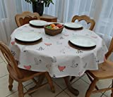 55 (1.4M) DIAMETER ROUND PVC/VINYL TABLECLOTH - CHICKENS DESIGN by THE TABLECLOTH COMPANY