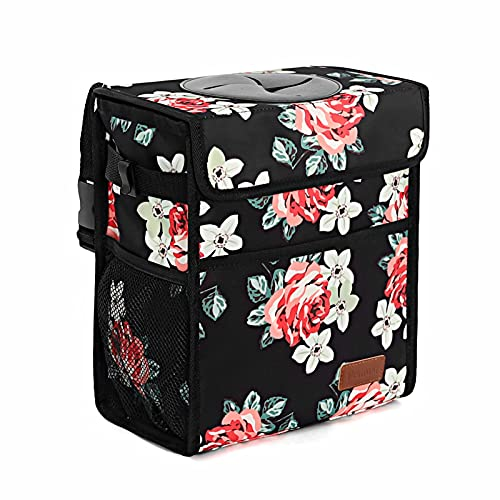 Car Trash Can Leak Proof Car Trash Bag Waterproof Car Garbage Can with Lid for SUV Front Seat Multipurpose Car Hanging for Headrest Collapsible and Portable with Storage Mesh Pocket, Flower