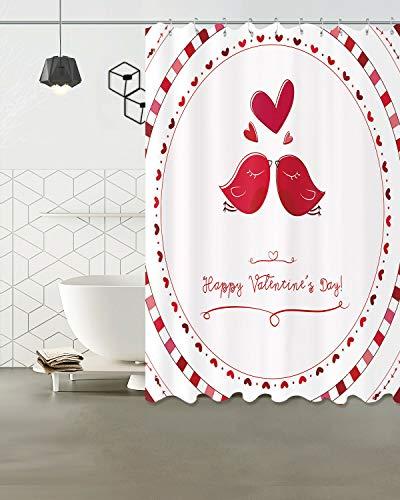 Alla hjärtans dag fågel hjärta bad tyg duschdraperi 12 krok