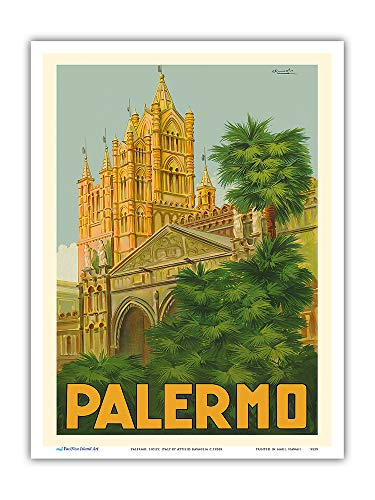 Pacifica Island Art - Palermo, Sicily, Italy - Duomo (Cathedral) - Vintage World Travel Poster by Attilio Ravaglia c.1930s - Master Art Print - 9in x 12in