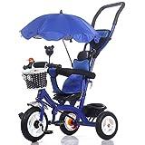 kiter Sillas de Paseo Cochecito de bebé Cochecito de bebé 8 Meses -5 años de Edad Triciclo de niños con sombrilla Desmontable Empuñadura niños Pedal Trike Bicicleta Bicicleta (Color : Blue)