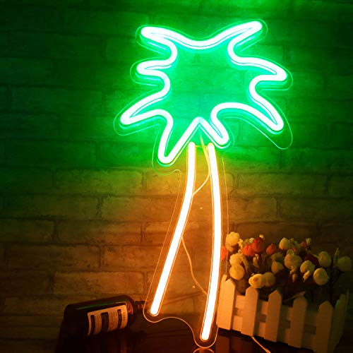 """Coconut Palm Tree Neon Signs LED Neon Lights with Battery Powered/USB for Christmas Art Wall Decor Room Wall Kids Bedroom Birthday Party Bar Decor 18.9""""x7.8"""" (Green Palm Tree)"""