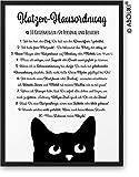 Katzenregeln II Katzen-Hausordnung ABOUKI Kunstdruck [ideales Geschenk] - moderne Deko - Design Poster Bild » auf Wunsch mit Namen personalisiert « Geschenkidee für Katzenfans - ungerahmt DIN A4
