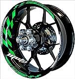MOTOINKZ バイク用 17インチ フルカスタムリムステッカー フラッグ 蛍光グリーン B-80-FLGREEN