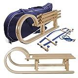 Holzfee Tourer Baran XL Set Klappschlitten 110 cm mit Schlittentasche und Rückenlehne flexibel