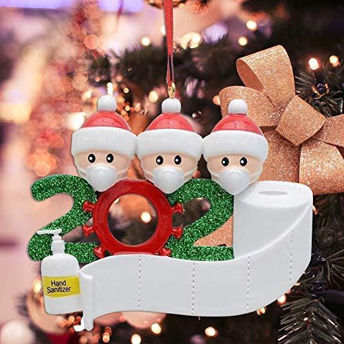 2020 Christmas Ornaments Covid 19 Funny Quarantine Family Christmas Ornaments Personalized Home Christmas Ornament Santa Christmas Ornament with Mask (2020 Christmas Ornament Quarantine Family of 3)