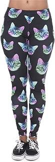 M-ONEZOU Leggings Women Neon Cat Black Printing Fitness Legging Silm Stretch Leggins High Waist Legins Trouser Casual Pants