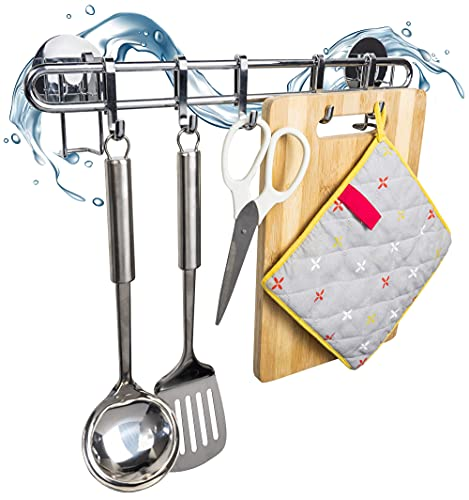Housekeeps Hakenleiste Küche glänzend mit 5 Haken - Küchenhelfer hängeleiste ohne Bohren - Stauraum für Zubehör auf 40 cm