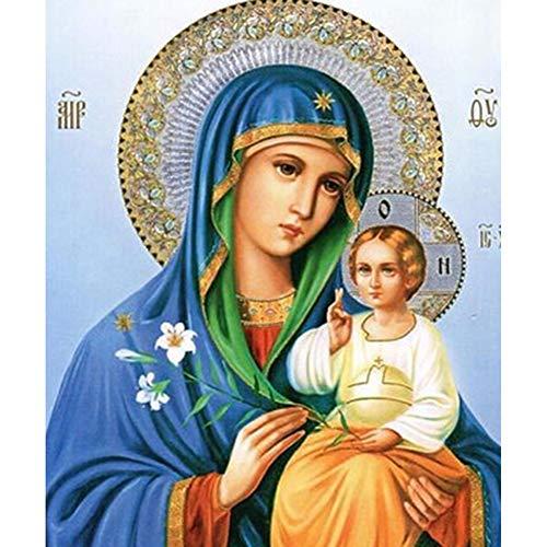 LJSHU Decoración de la Pared Vestido Azul de la Virgen y el niño DIY Pintura Diamante 5d Conjunto Resina de Diamante sólido Redondo de Cristal Figura Mosaico decoración del hogar,50X60CM