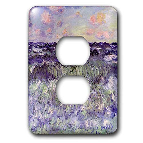 Duplex Receptacle Outlet Wallplate 1 Gang Outlet Covers Print Of Monet Painting Sea Study Classic Beadboard Wall Plate Decorator Unbreakable Faceplate
