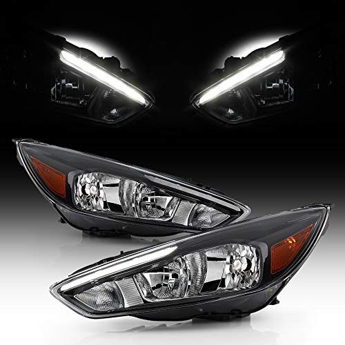 ACANII - For [Halogen Model w/LED DRL] 2015 2016 2017 2018 Ford Focus Headlights Headlamps Assembly Driver & Passenger