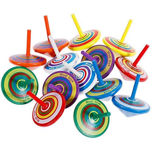 14 Stück Kreisel aus Holz, Holzkreisel Spielzeug (bunt)