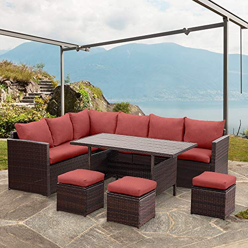 Wisteria Lane Patio Furniture Set, 7 PCS Outdoor Conversation Set All Weather Brown Wicker Sectional Sofa Couch Dining Table Chair with Ottoman,Wine Red Cushion