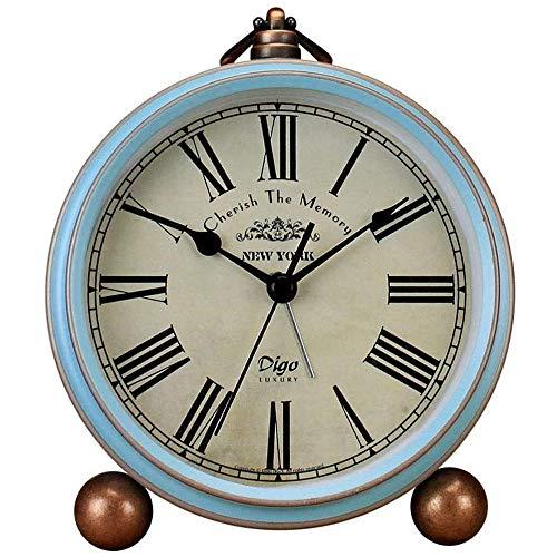 WSXEDC Desktop Bedside Round Desktop Clock-Ultra-Quiet Metal Small Alarm Clock-Home Desk Cabinet Bedside Travel Alarm Clock-Small Desktop Clock, Clock Ornaments-The Best Decoration Gifts Table Clock