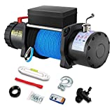 Anbull 12V 9500lb Electric Winch, Synthetic Rope Winch, Waterproof IP67 with Hawse Fairlead, with Both Wireless Handheld Remote and Corded Control Compatible with Jeep Off Road SUV Truck