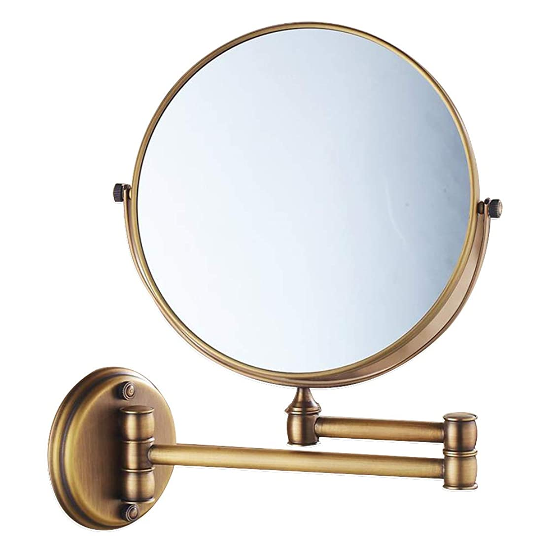 交換動揺させるアクションHUYYA 3倍拡大 化粧鏡、両面 壁掛け式 けメイクミラー 360 °回転 伸縮可能折りバスルームの鏡,Bronze_8inch