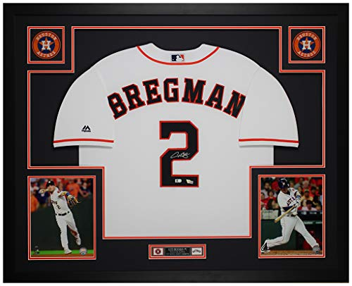 Alex Bregman Autographed White Houston Astros Jersey - Beautifully Matted and Framed - Hand Signed By Bregman and Certified Authentic by Fanatics - Includes Certificate of Authenticity