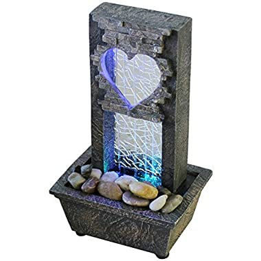 Newport coast collection Large Crackled Glass Heart Fountain - LED Color Changing Lights -