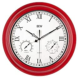 BEW Large Outdoor Clock, 18 Inch Waterproof Thermometer Hygrometer Rustic Roman Wall Clocks, Silent Metal Iron Battery Operated Wall Clock for Patio, Pool, Garden, Lanai, Fence, Porch - Empire Red