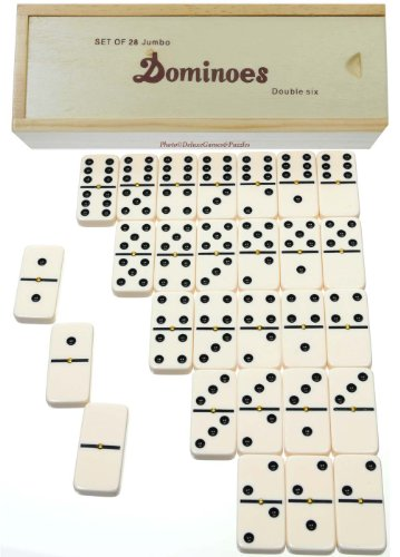 Dominoes Jumbo Tournament OffWhite Color with Black Pips _ Double Six Set of 28 _with Brass Spinners