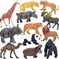 Safari Animals Figures Toys, Realistic Jumbo Wild Zoo Animals Figurines Large Plastic African Jungle Animals Playset with Elephant, Giraffe, Lion, Tiger, Gorilla for Kids Toddlers, 12 Piece Gift Set from YOU XIN TOYS FACTORY