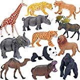 SAFARI ANIMALS: 12PCS unique non-repeating plastic jungle animals with vibrant colors, measure about 5 to 6.3 inch in length. Including tiger, lion, lioness, gorilla, elephant, panda, giraffe, cheetah, rhino/rhinoceros, camel, elk, hippo. SAFE & HIGH...