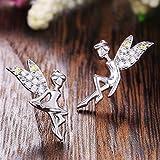 Neaer Pendientes delicados de hada para mujer, con circonita cúbica brillante, alas voladoras, regalo fino para niñas, pendientes para uso diario