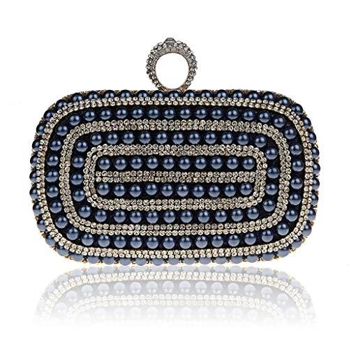 SCDSNB Mode Persönlichkeit Perle Abendessen Tasche mit Diamant Handtasche Kette Tasche Japan und Südkorea Ring Bankett Tasche Kleid Cheongsam Handtaschen (Farbe : A)
