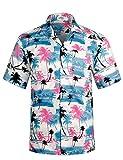 アロハシャツ メンズ ビーチシャツ 通気速乾 超軽量 プリントシャツ 夏 イベント 祭り ハワイ 半袖シャツ HW009 US M