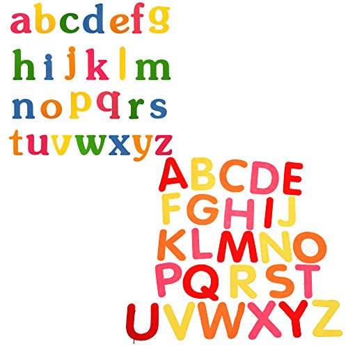 BLUECELL BCP Random Color Set A to Z Lowercase Letters Alphabet Felt Letters + Set A to Z Uppercase Letters Felt Letters