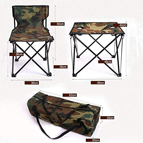 Beach folding chair Five-Piece Outdoor Folding Table And Chair Set Camouflage Oxford Cloth Aluminum Alloy Material Sturdy Stable Portable Garden Chairs For Outdoor Camping Beach Barbecue