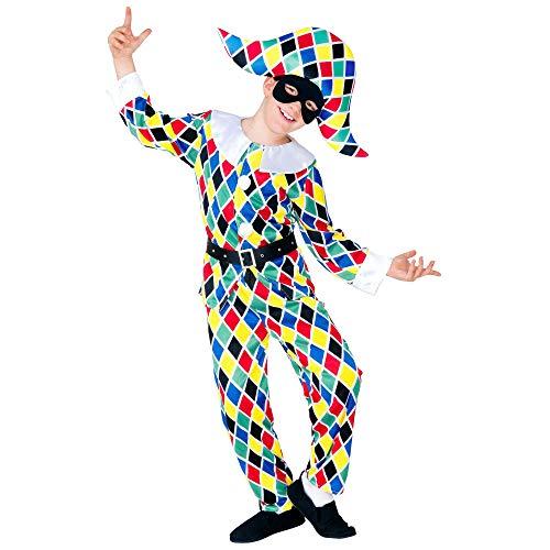 Widmann 55716 - Kinderkostüm Harlekin, Jacke, Hose, Gürtel, Hut, Clown, Spaßvogel, Hofnarr, Fasching, Karneval, Mottoparty