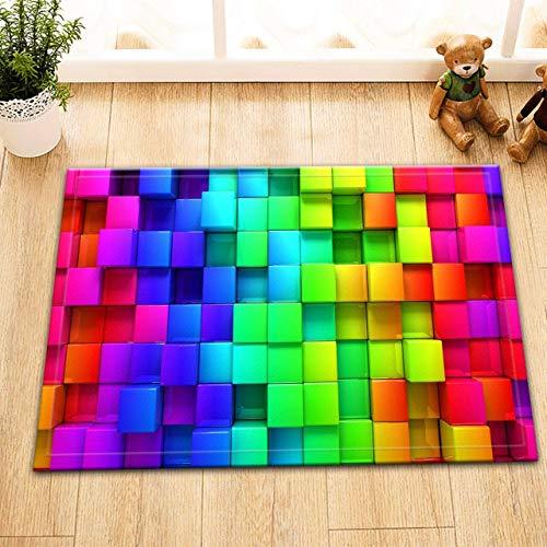Alfombra Colorida del Cubo de Rubik,Cuadrados geométricos Coloridos,Alfombrilla de Franela Antideslizante,Absorbente,Suave y Duradera para Cocina y baño