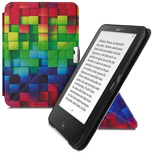 kwmobile Funda Compatible con Tolino Vision 1/2 / 3/4 HD - Carcasa magnética de Origami para e-Book - Cubos Colores Multicolor/Verde/Azul