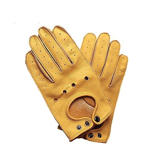 QXYOGO Guantes De Moto Guantes de Motocicleta Cuero Hombres Retro Guantes Medio Finger Finger Moto Guantes Motorbike Motorista Guantes Guantes para Moto (Color : Brown, Size : M)