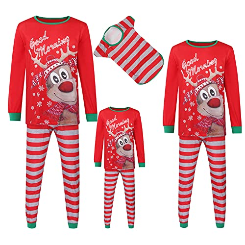 Christmas Pajamas for Family, Matching Pjs Set, Xmas Deer Red Jammies for Women, Men, Kids and Dog Holiday Suit