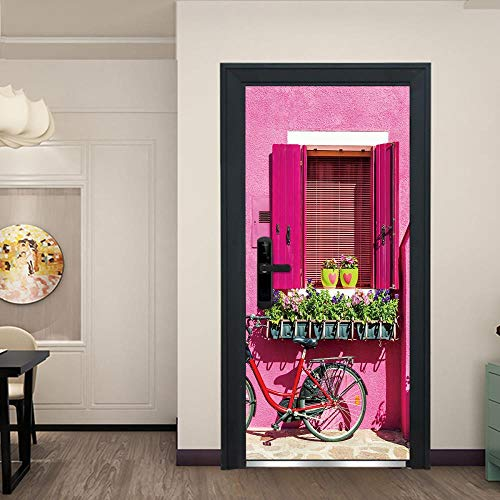 FCFLXJ 3D Türaufkleber für Innentüren, Rosa Fensterbank DIY Tür Wandmalereien Foto gedruckt Selbstklebende Wandbilder wasserdichte Tür Aufkleber Vinyl Tür Tapete für Schlafzimmer Badezimmer 80*200CM
