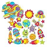 Baker Ross- Pegatinas de Espuma del Sistema Solar (Pack de 12) -Manualidades educativas para niños
